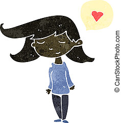 retro cartoon woman with love cloud