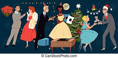 Retro styled vector illustration, group of people dressed in 1950s fashion, celebrating Christmas of New Year, EPS 8, no transparencies
