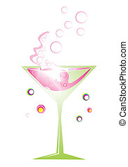 Retro cocktail in green glass with pink splash, vector illustration