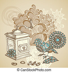 Retro coffee background featuring decorative bird grinding coffee beans