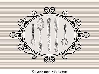 Retro cutlery elements sketch style set