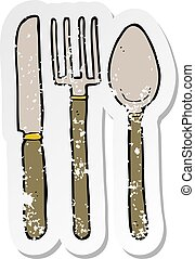 retro distressed sticker of a cartoon knife fork spoon