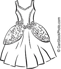 Retro dress. Outline illustration.