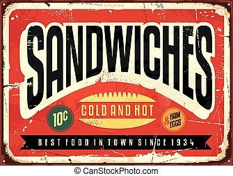 Retro food sign design for diner, restaurant or snack bar