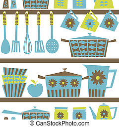 Seamless pattern with kitchen utensils and dishware in retro style.