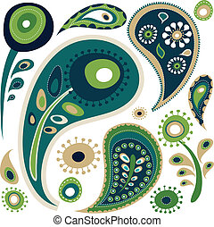 Retro green and blue paisley pattern