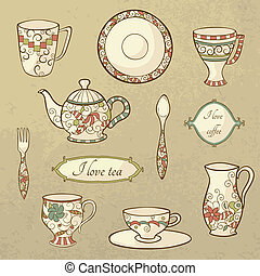 Vector set with plate, teapot and cups in retro style