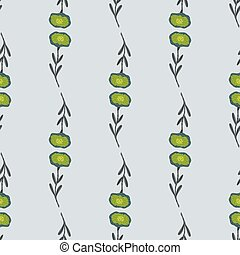 Retro simple seamless pattern with green flowers ornament. Pale blue background.