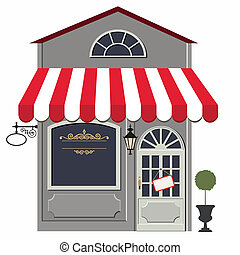 Vector illustration of little cute retro store, shop or boutique. No gradient used