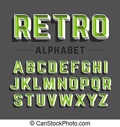 Retro style alphabet letters
