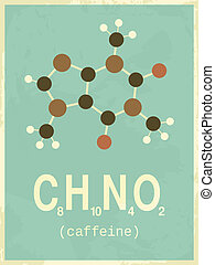 Poster in vintage style with caffeine's structural formula.