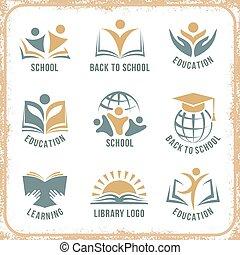Retro style school logos
