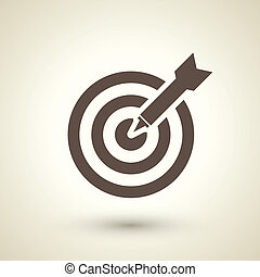 retro style target with dart icon isolated on brown background