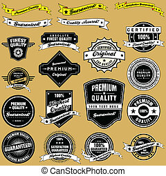 A collection of retro style premium quality and guarantee labels and banners in a vector set.