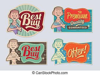 Retro vintage advertising labels