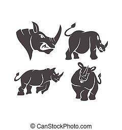 Rhino vector logo design mascot Set with modern illustration concept style for badge, emblem and t-shirt printing