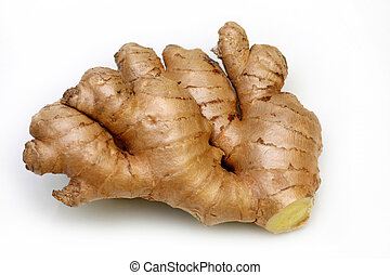 Rhizome of fresh ginger ready to be used as an ingredient in cooking on a white background