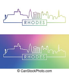 Rhodes skyline. Colorful linear style.