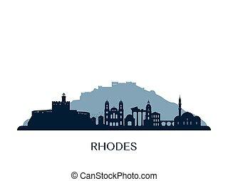 Rhodes skyline, monochrome silhouette.