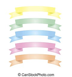 Ribbon banner set vector isolated on white