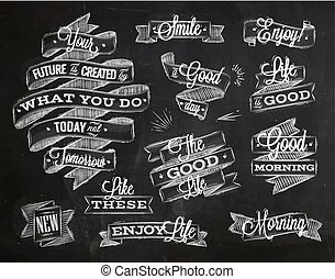Set ribbons in vintage style with lettering your future is created by what you do today not tomorrow stylized drawing with chalk