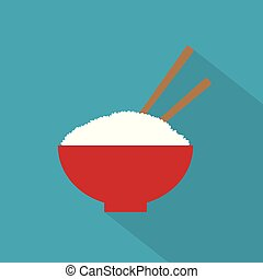 rice bowl with chopsticks icon- vector illustration