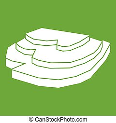 Rice field icon white isolated on green background. Vector illustration