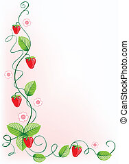 Ripe strawberries and green leaves with flowers . Vector illustration border