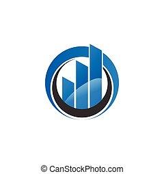 Rising bar in a circle business logo template