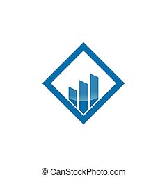 Rising bar in a square logo design concept for business