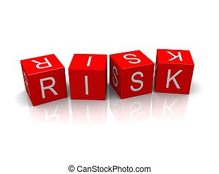 3d rendered illustration of the word risk on red cubes
