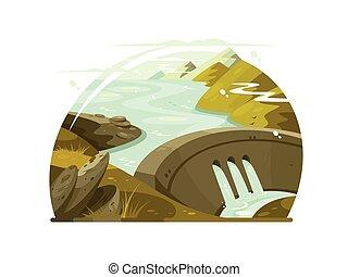 River huge dam. Construction for regulation of water flows. Vector illustration