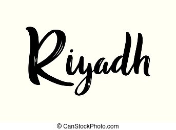 Riyadh hand-lettering calligraphy. Hand drawn brush calligraphy. City lettering design. Vector illustration.