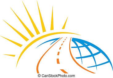 Road around whole world with sunrise illustration
