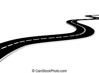 Isolated asphalt road - 3d render