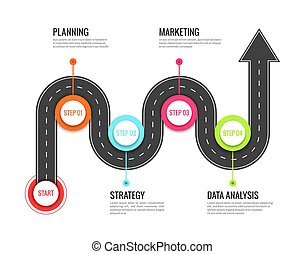 Road journey infographic. Trip directional map winding road, travel to success. Footpath vector concept