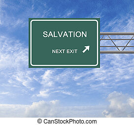 Road sign to salvation