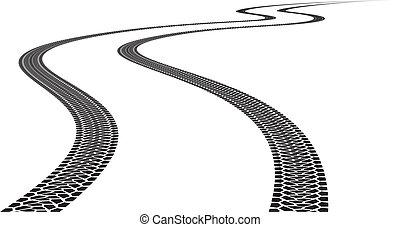 Road Tire Track. Illustration on white background