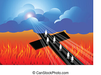 Illustration of road to heaven