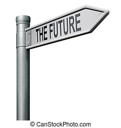 bright future ahead road sign indicatin direction to a happy future