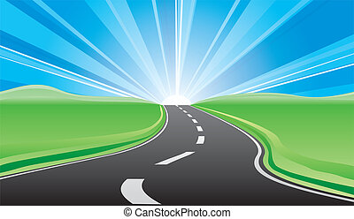 Vector illustration of road to the bright sunrise