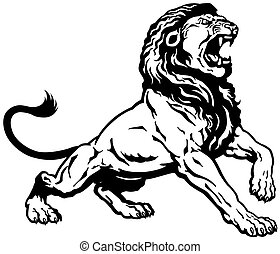 roaring lion, black and white tattoo image