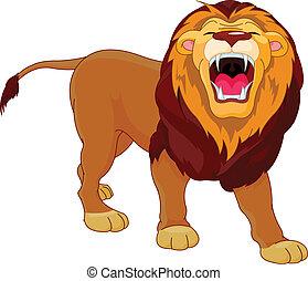 Fully editable illustration of a roaring cartoon Lion