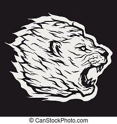 Roaring lion head Dark background.