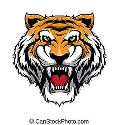 Roaring Tiger. Tiger Head Mascot Illustration Vector