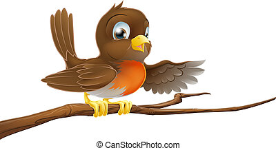 Robin bird on branch pointing