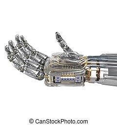 Robot hand holding imaginary object. 3d render