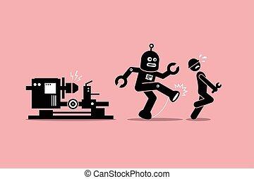 Robot mechanic kicks away a human technician worker from doing his job at factory.