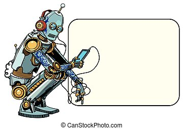 robot sits with the phone. Smartphone and new technologies. Pop art retro vector illustration