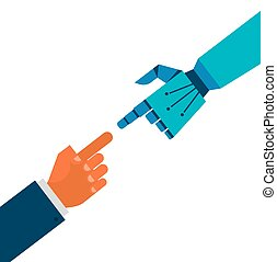 Robotic and human hands connection